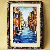 Картины и панно handmade. Livemaster - original item Watercolour landscape in a designer frame VENICE CANAL. Handmade.