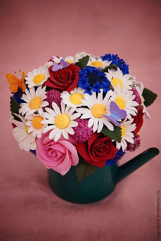 """Интерьерные композиции ручной работы. Ярмарка Мастеров - ручная работа. Купить Интерьерная композиция из полимерной глины """"Country Flowers"""". Handmade."""
