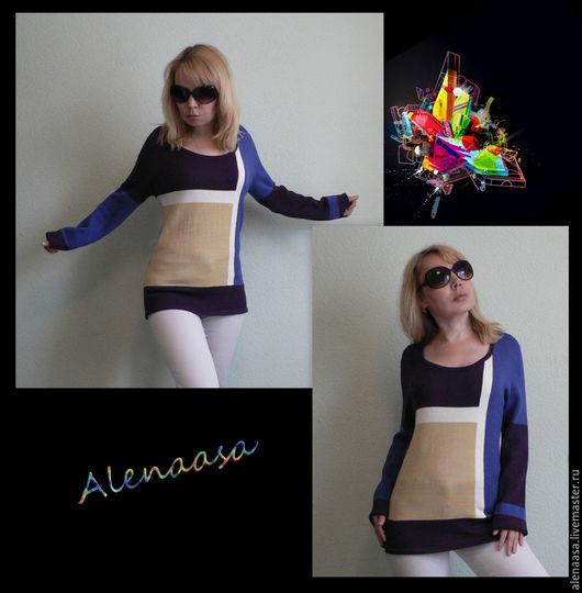 """Кофты и свитера ручной работы. Ярмарка Мастеров - ручная работа. Купить Джемпер """"Цветная геометрия"""". Handmade. Комбинированный, женский джемпер"""