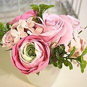Цветы и флористика handmade. Livemaster - original item Bouquet of Roses and Ranunculus. Flowers from polymer clay.. Handmade.