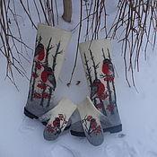 Обувь ручной работы handmade. Livemaster - original item Boots and mittens female bullfinches Merino wool. Handmade.
