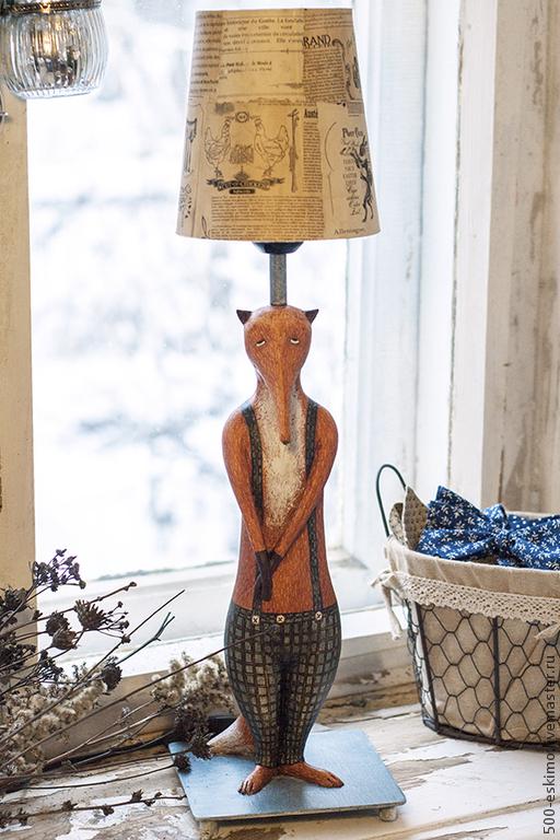 Освещение ручной работы. Ярмарка Мастеров - ручная работа. Купить Лампа Лис. Handmade. Рыжий, масло