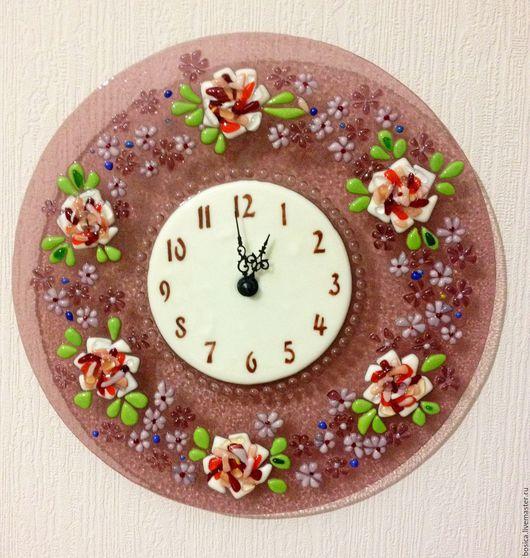 """Часы для дома ручной работы. Ярмарка Мастеров - ручная работа. Купить Часы """"Стиль Прованс"""" сирень   фьюзинг. Handmade. Часы"""