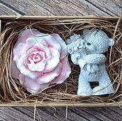 Косметика ручной работы. Ярмарка Мастеров - ручная работа Набор мыла Тедди и роза. Handmade.