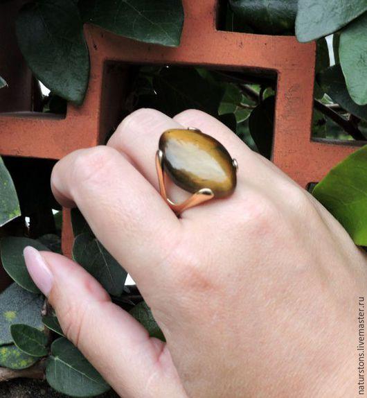 Кольца ручной работы. Ярмарка Мастеров - ручная работа. Купить кольцо с тигровым глазом. Handmade. Коричневый, коричневое кольцо