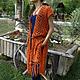 Чтобы лучше рассмотреть модель, нажмите на фото Ната Онипченко CUTE-KNIT Ярмарка мастеров Купить длинный жилет оранжевый с бахромой