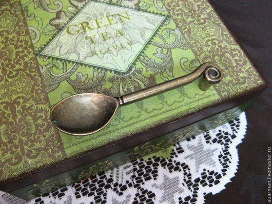 Шкатулки ручной работы. Ярмарка Мастеров - ручная работа. Купить Шкатулка для чая декупаж Зеленый чай 2. Handmade.