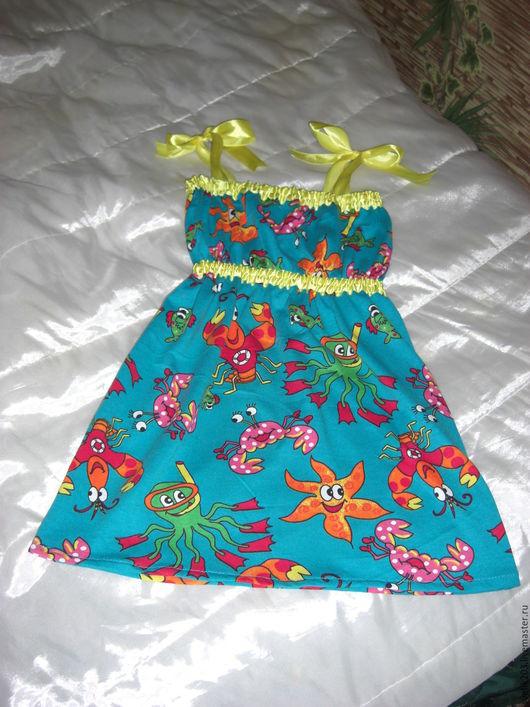 """Одежда для девочек, ручной работы. Ярмарка Мастеров - ручная работа. Купить Детский сарафанчик """"Подводное царство"""". Handmade. Детский сарафан"""