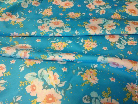 Шитье ручной работы. Ярмарка Мастеров - ручная работа. Купить Ткань для одежды.. Handmade. Голубой, ткань для платья, вискоза, вискоза