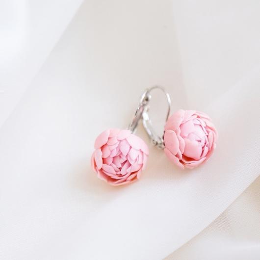 """Серьги ручной работы. Ярмарка Мастеров - ручная работа. Купить Серьги """"Пионы"""". Handmade. Бледно-розовый, серьги с цветами"""