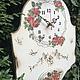 """Часы для дома ручной работы. Ярмарка Мастеров - ручная работа. Купить Часы настенные """"Венок из роз"""". Handmade. Белый, птички"""