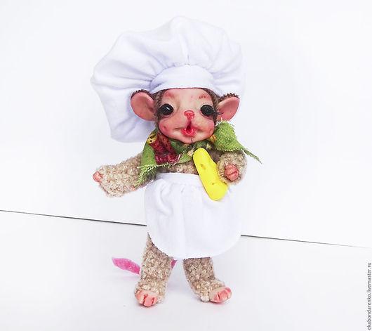 Коллекционные куклы ручной работы. Ярмарка Мастеров - ручная работа. Купить Мышонок-повар.. Handmade. Каркас, оригинальный подарок, повар