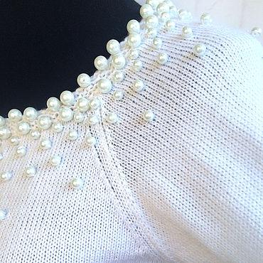 Одежда ручной работы. Ярмарка Мастеров - ручная работа Джемпер реглан Морской жемчуг вязаный вышитый бусинами с перламутром. Handmade.