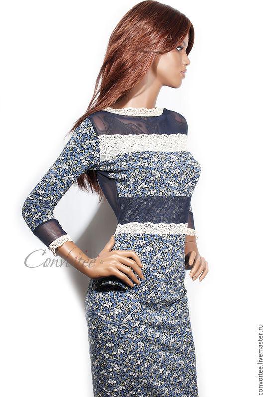 Платья ручной работы. Ярмарка Мастеров - ручная работа. Купить Платье цветочно-кружевное /синее. Handmade. Тёмно-синий