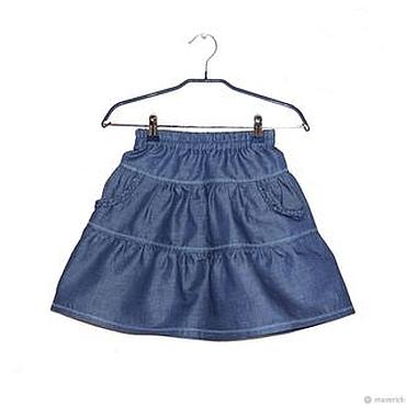 Работы для детей, ручной работы. Ярмарка Мастеров - ручная работа Синяя джинсовая юбка для девочки. Handmade.