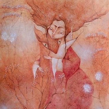 Картины и панно ручной работы. Ярмарка Мастеров - ручная работа Камыш Картина пастелью, Япония, лиса. Handmade.