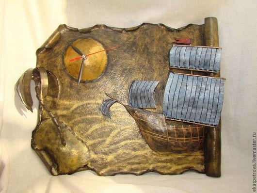 """Часы для дома ручной работы. Ярмарка Мастеров - ручная работа. Купить Часы """"Солнечный остров"""". Handmade. Часы, остров, пальма"""