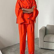 Одежда handmade. Livemaster - original item Orange suit with patch pockets. Handmade.