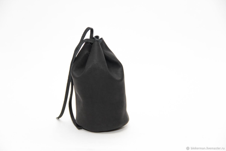 Bag made of genuine calfskin 9h15cm black, Baggie, Penza,  Фото №1