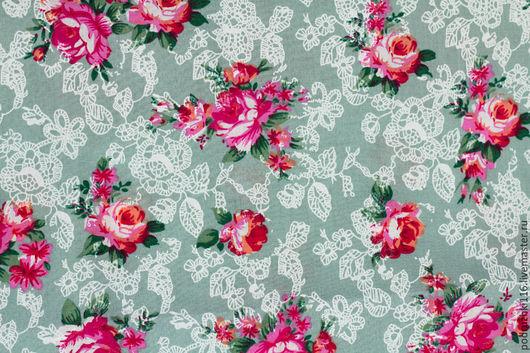 Шитье ручной работы. Ярмарка Мастеров - ручная работа. Купить Ткань Хлопок Корея Розы на сером. Handmade. Хлопок