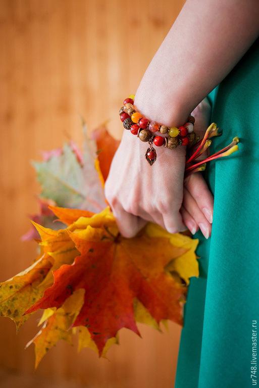 """Браслеты ручной работы. Ярмарка Мастеров - ручная работа. Купить Комплект браслетов """"Сентябрь""""(красный,рыжий,желтый). Handmade. Красный, подарок"""