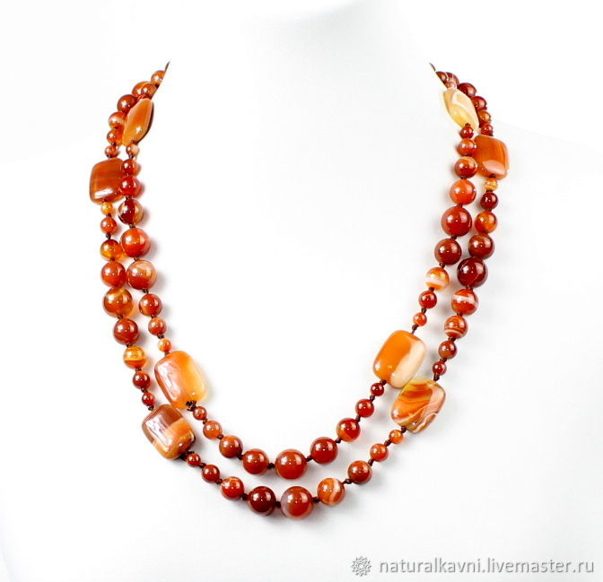 Large long beads natural carnelian, Necklace, Moscow,  Фото №1