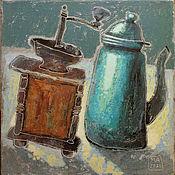 Картины и панно handmade. Livemaster - original item Still Life painting for coffee (brown, turquoise, teapot). Handmade.