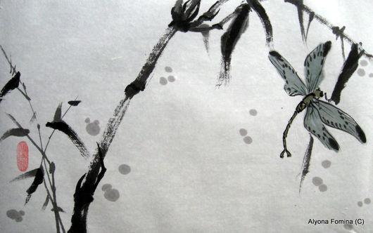 Пейзаж ручной работы. Ярмарка Мастеров - ручная работа. Купить Стрекоза. Handmade. Китайская живопись, картина в подарок, тушь