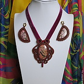 Украшения handmade. Livemaster - original item Set: pendant and earrings-In the middle of a noisy ball. Handmade.