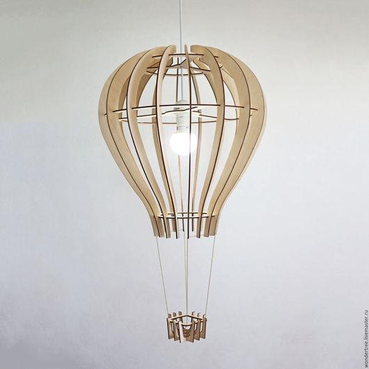 """Освещение ручной работы. Ярмарка Мастеров - ручная работа. Купить Люстра """"Воздушный шар"""". Handmade. Бежевый, экостиль, самолет, фанера"""