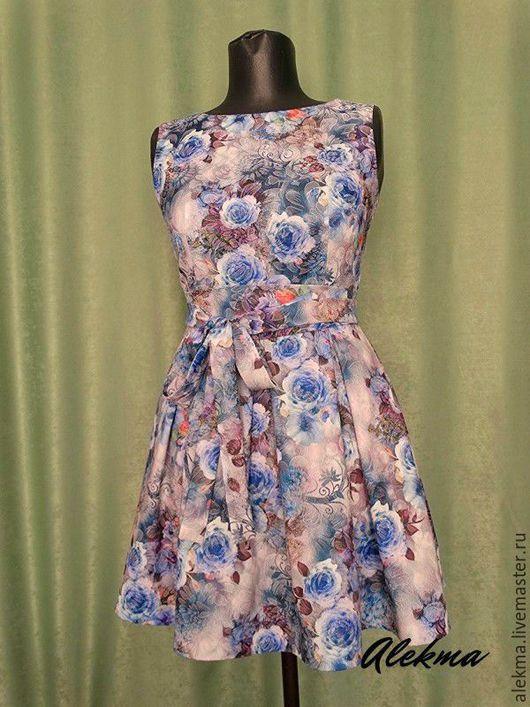 Платья ручной работы. Ярмарка Мастеров - ручная работа. Купить платье летнее с цветочным принтом разм.44  Летние грёзы. Handmade.