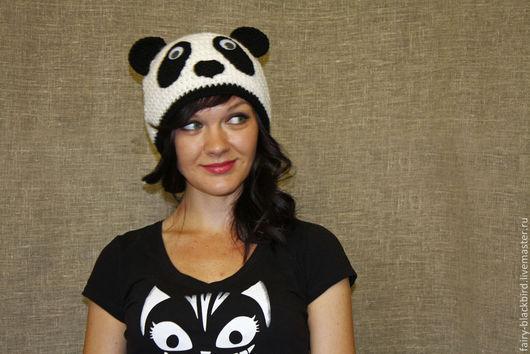 """Шапки ручной работы. Ярмарка Мастеров - ручная работа. Купить Шапка """"Панда"""". Handmade. Чёрно-белый, шапка с ушками"""