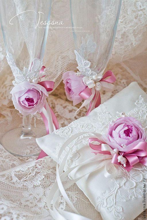 """Свадебные аксессуары ручной работы. Ярмарка Мастеров - ручная работа. Купить Комплект свадебных аксессуаров """"Pink rose"""". Handmade."""
