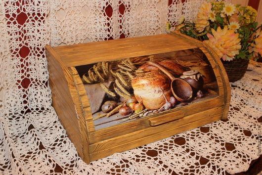 """Кухня ручной работы. Ярмарка Мастеров - ручная работа. Купить Хлебница деревянная """"Пышный хлеб"""". Handmade. Бежевый, уютная кухня"""