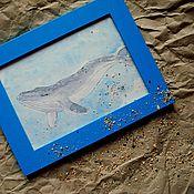 """Картины и панно ручной работы. Ярмарка Мастеров - ручная работа Картина акварелью в рамке """"В единстве с морем..."""". Handmade."""