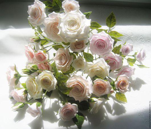 Интерьерные композиции ручной работы. Ярмарка Мастеров - ручная работа. Купить Букет кустовых роз. Handmade. Кремовый, интерьерная композиция