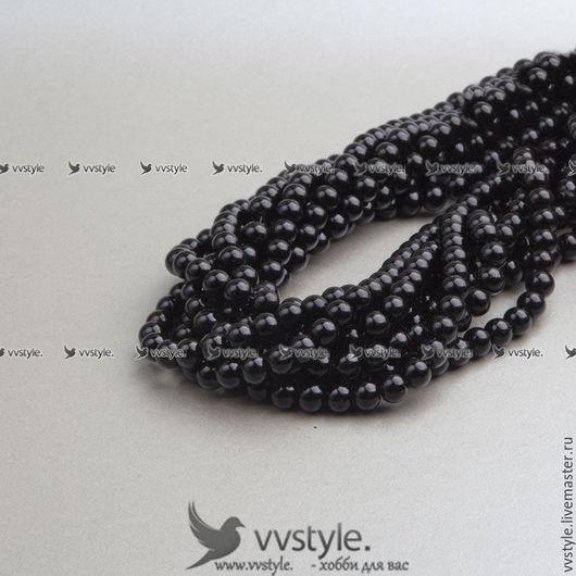 Для украшений ручной работы. Ярмарка Мастеров - ручная работа. Купить Жемчуг (220 бусин) 1 нить 80 см. Черный 4мм (bpa040.4). Handmade.