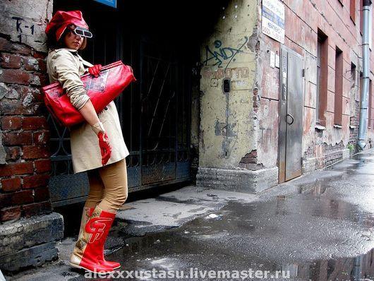 """Обувь ручной работы. Ярмарка Мастеров - ручная работа. Купить Сапоги и сумка """"Серп и молот"""". Handmade. Натуральная кожа, берет"""