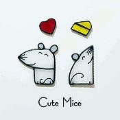 Магниты ручной работы. Ярмарка Мастеров - ручная работа Магниты на холодильник из стекла Милые Мышата Cute Mice #053. Handmade.