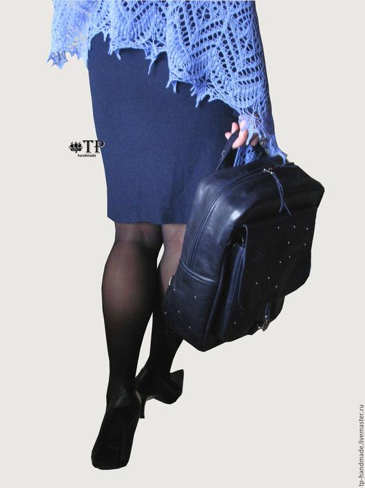 """Рюкзаки ручной работы. Ярмарка Мастеров - ручная работа. Купить Рюкзак кожаный женский """"Зима"""". Handmade. Тёмно-синий, лед"""