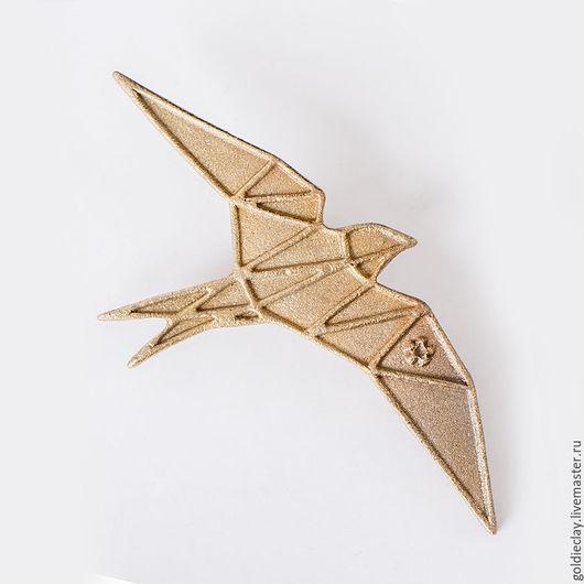 Броши ручной работы. Ярмарка Мастеров - ручная работа. Купить Брошь Ласточка - Origami SWALLOW (65мм). Handmade. Брошь, аксессуар