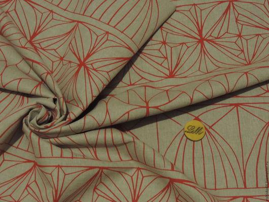 Шитье ручной работы. Ярмарка Мастеров - ручная работа. Купить ткань лен натуральный  орнамент красный. Handmade. Лен