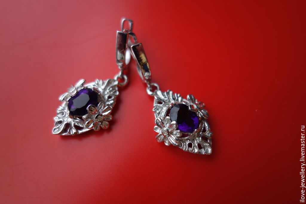 CELESTE-charming earrings with Uruguayan amethysts, Earrings, Moscow,  Фото №1