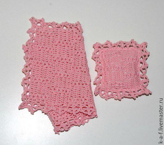 """Кукольный дом ручной работы. Ярмарка Мастеров - ручная работа. Купить Покрывало """"Розовый колос"""" + квадратная подушка с оборками. Handmade."""