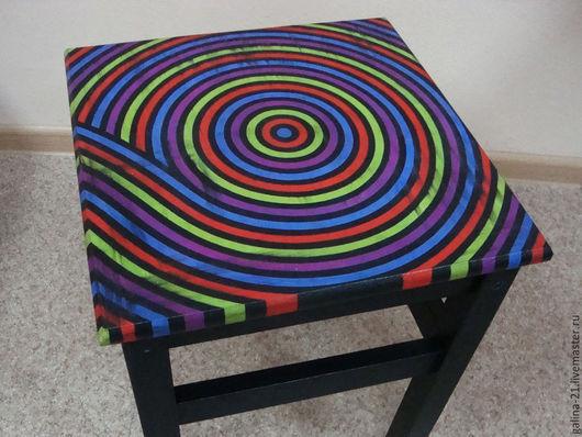 """Мебель ручной работы. Ярмарка Мастеров - ручная работа. Купить Табурет """"Спираль"""". Handmade. Украшение интерьера, Мебель, гуашь"""