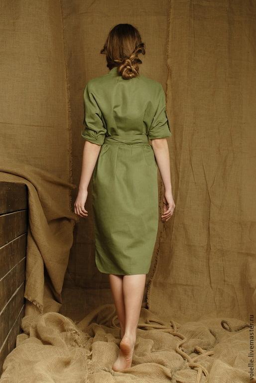 ed5fd55d5239ac8 ... Платье-рубашка зеленое в стиле милитари, платье льняное летнее, на  каждый день длиной ...