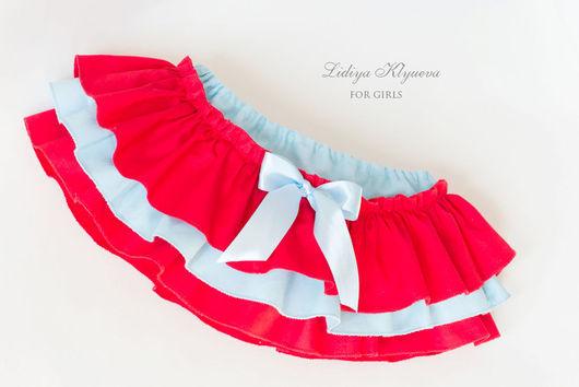 Одежда для девочек, ручной работы. Ярмарка Мастеров - ручная работа. Купить Юбочка-трусики на памперс - блумеры голубой и красный. Handmade.