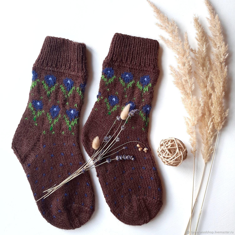 Вязаные жаккардовые носки с весенними цветами, Носки, Москва,  Фото №1