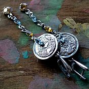 Украшения handmade. Livemaster - original item Sterling silver earrings with natural stones, silver earrings long. Handmade.