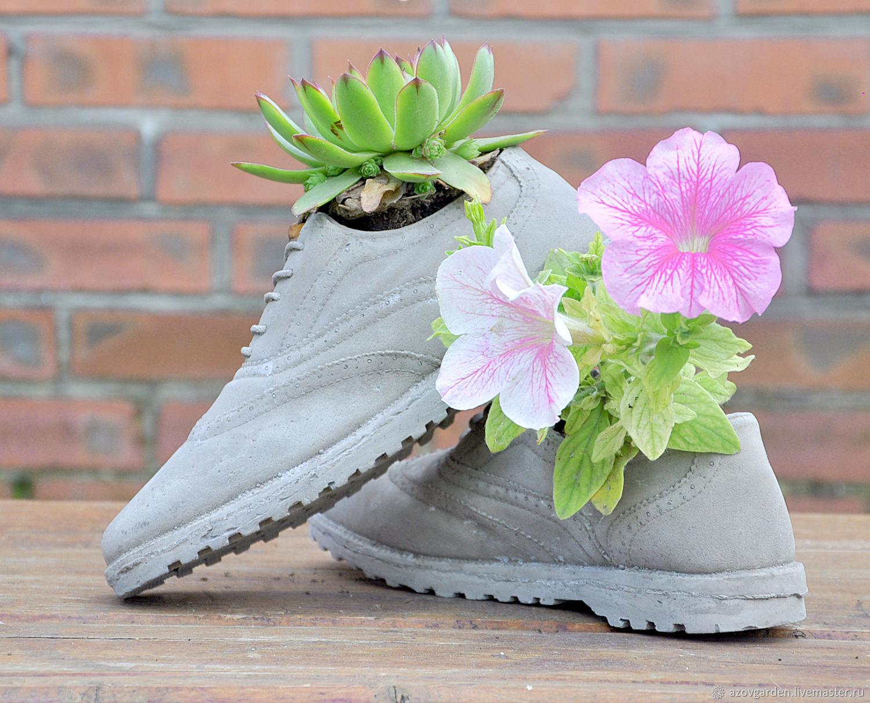 Кашпо Туфли из бетона, креативные горшки для кактусов и суккулентов, Сувениры, Азов, Фото №1